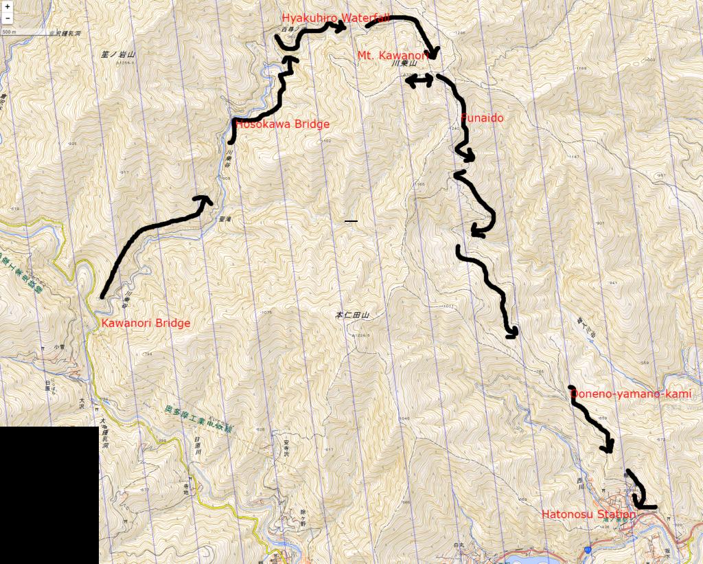 Map of the Mt. Kawanori hiking course