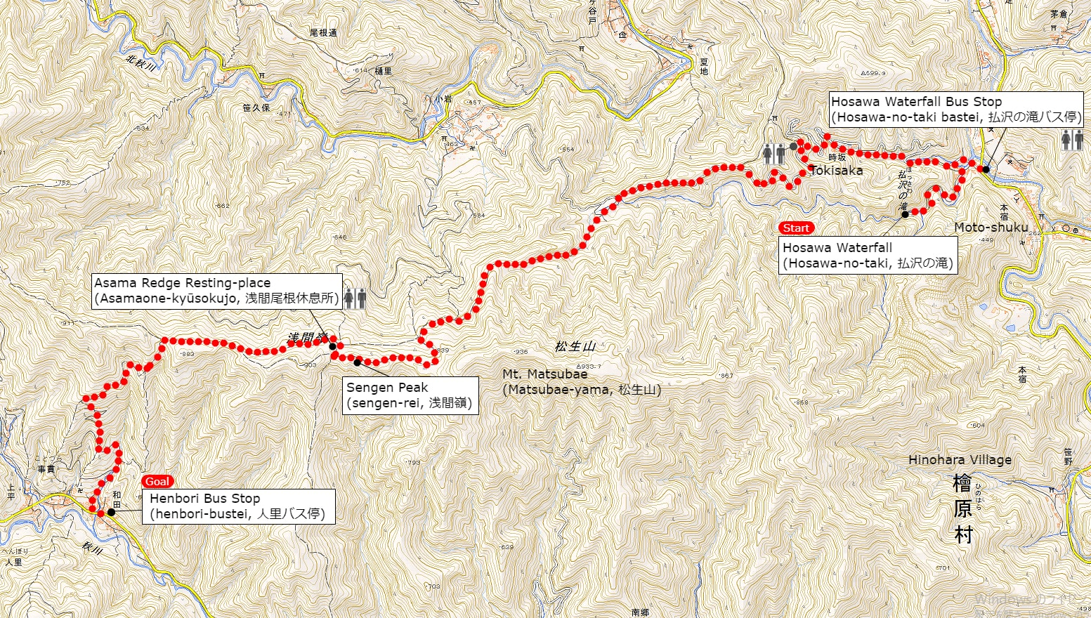 A Map of Sengen Ridge Hiking Course | Click on the image above to open the enlarged image in a separate tab.