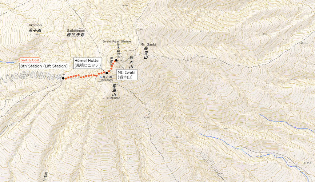 Mt. Iwaki's Hiking Course Map | When clicked, an enlarged view opens in a separate tab.