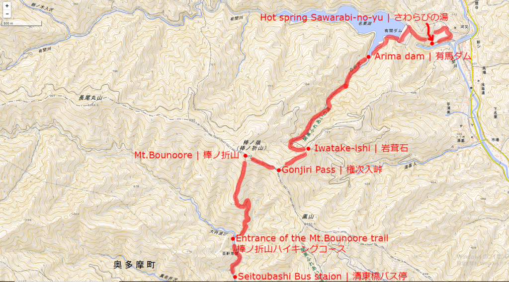 棒ノ折山ハイキングコースの地図 | 上記の画像をクリックすると別タブで拡大図が開きます。