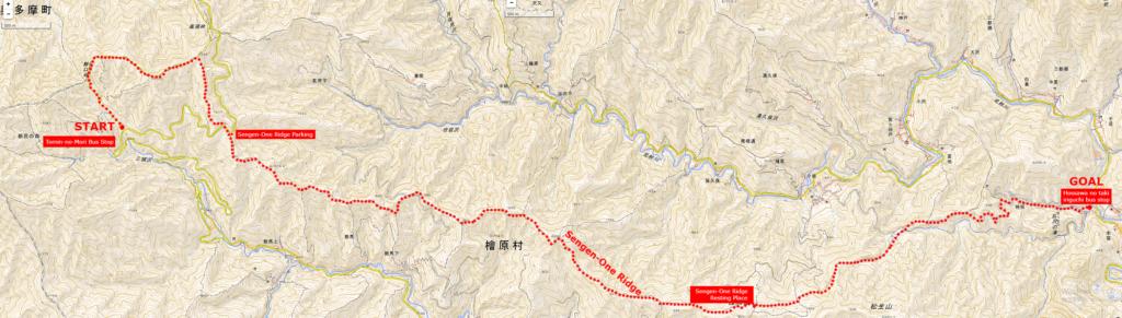 浅間尾根ハイキングコースの地図 | クリックすると別タブが開き拡大画像が表示されます。