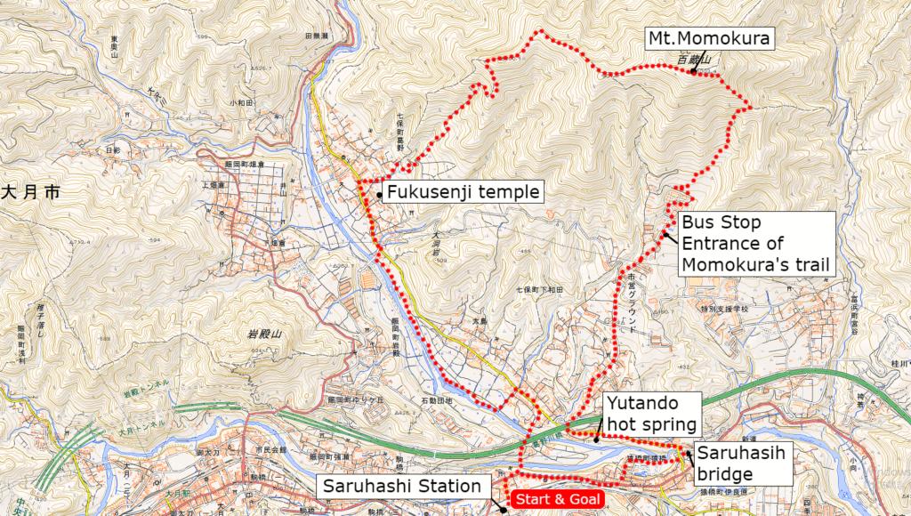 百蔵山の地図 | クリックすると別タブで拡大図が開きます。