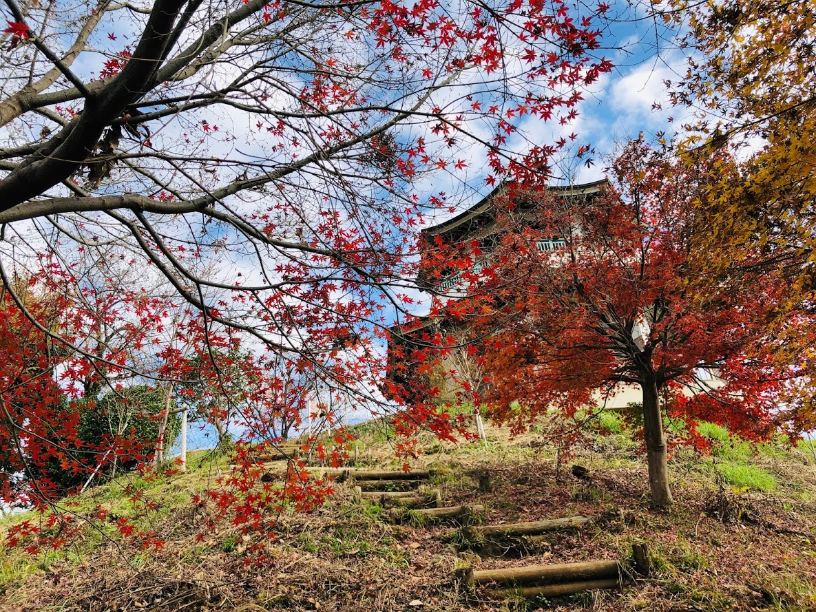 An observatory stand on the summit of Mt. congen and autumn leaves