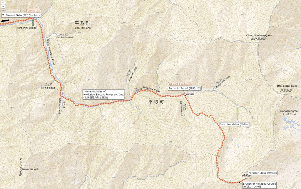 Map of the Nukabira River Route | Click on the image above to open the enlarged image in a separate tab.