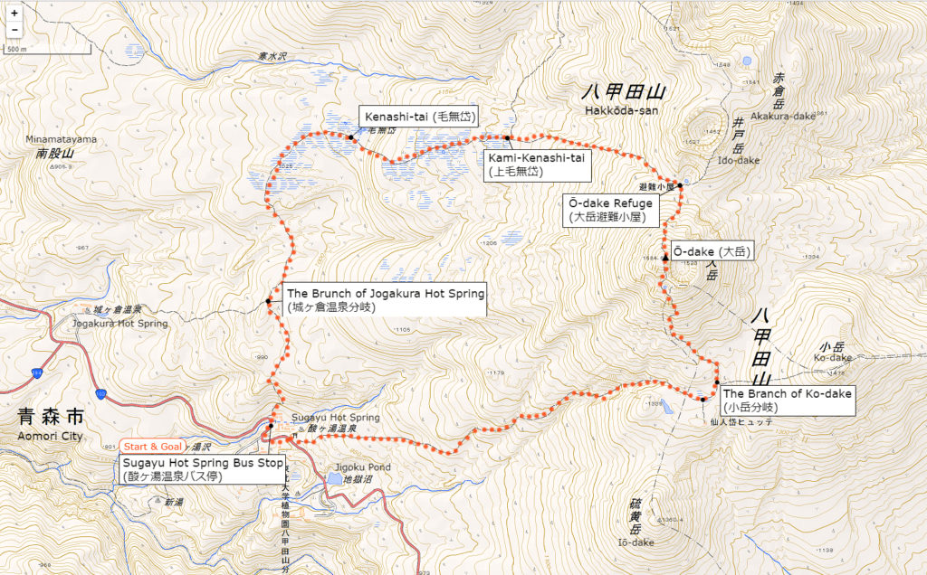 Hakkōda-san's Hiking Course | When clicked, an enlarged view opens in a separate tab.